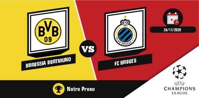 Pronostic Borussia Dortmund FC Bruges 4ème journée Ligue des Champions mardi 24 novembre 2020